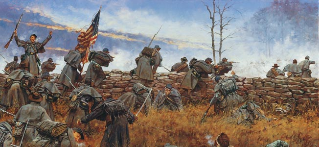 Exultant Union troops clamber over the much-fought-over stone wall at Kernstown in this painting by Keith Rocco.