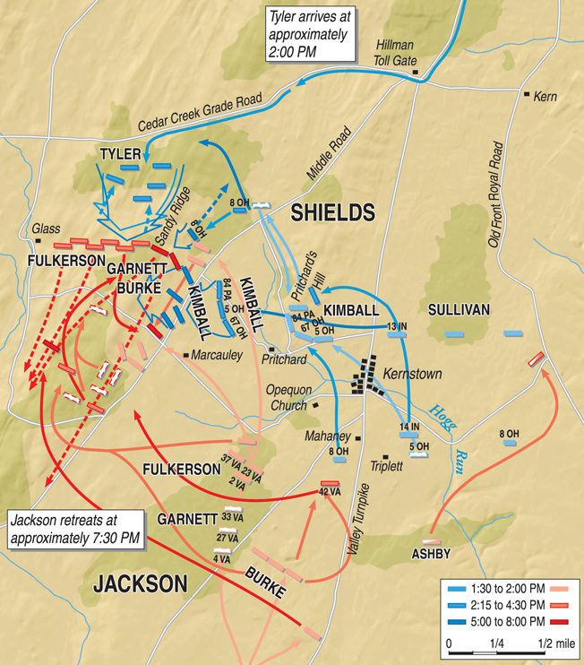Pritchard's Hill, center, held a commanding view of the battlefield. From there Union forces were able to mount a successful flank attack.