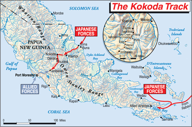 The Kokoda Trail was an unforgiving jungle track that stretched across the forbidding Owen Stanley Mountains in New Guinea. It was the primary route of advance and retreat as Allied and Japanese troops vied for control of the island.