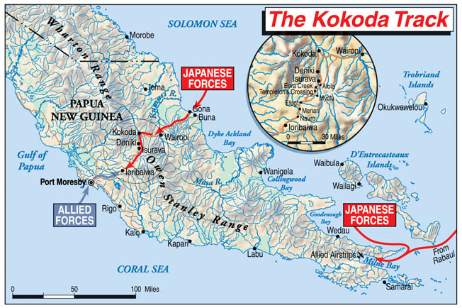 Had it not been for the brutal conditions of the Kokoda Trail over the Owen Stanley Mountain Range, the Japanese might have taken their main objective, Port Moresby. They also failed to capture Milne Bay at New Guinea's southeast tip.
