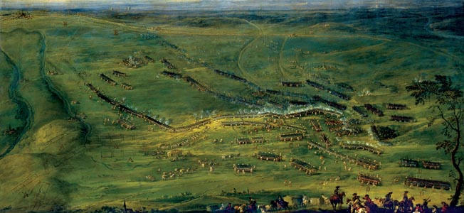A bird's eye view of the Battle of Kolin, painted shortly after the fighting, shows the perfect formations the well-trained Prussians maintained on the battlefield.