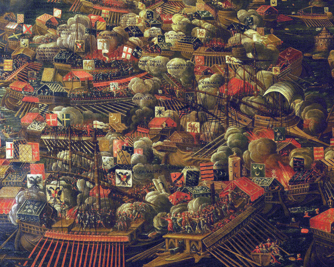 A 16th-century Venetian depiction of the battle.