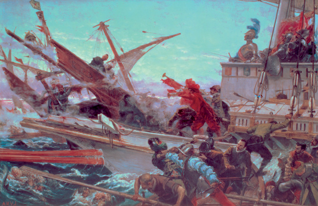 A Christian ship bears down on a Turkish vessel in this 19th-century depiction of a portion of the battle.