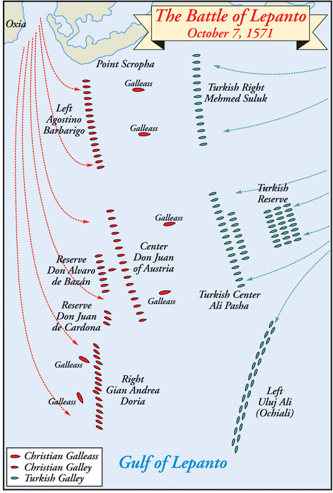 The Christian fleet approached from the left (west) its four galleasses in front of the main forces. Each fleet was divided into three major segments.