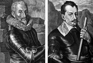 Field Marshal Albrecht von Wallenstein, left; Imperial general Johann Tserclaes, Count of Tilly.