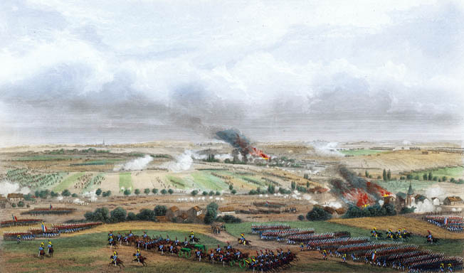A panoramic view of the Ligny battlefield shows French forces advancing in the foreground over the gently rolling terrain. Approximately 150,000 men participated in the clash two days before Waterloo.