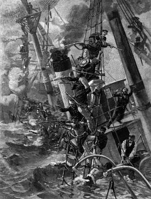 After the Re d'Italia's deck was awash, Italian marines climbed aloft into the rigging to fire on the Austrians. They managed to kill some of the enemy sailors before the ship slipped down into 200 fathoms of water.