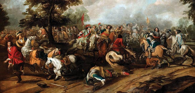 A cavalry clash with wheellock pistols and sabers. The Croats functioned as superb light cavalry for the Imperialist armies.