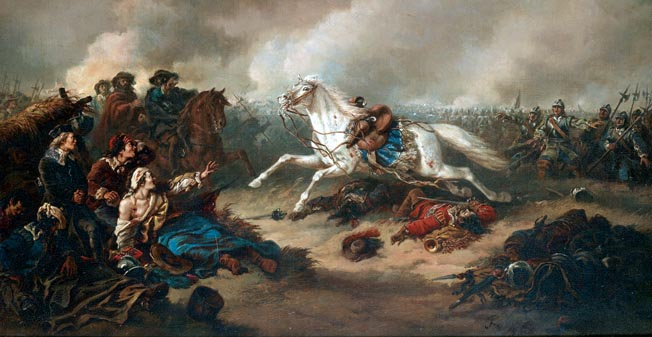 Gustavus's white horse flees the field at Lutzen. The Swedes had a number of gifted generals who continued to lead Swedish forces in Germany after the king's untimely death.