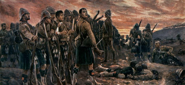 "At Magersfontein, the famous Scottish Highland Brigade marched into a ""slaughterhouse"" of fire by Boer marksmen."