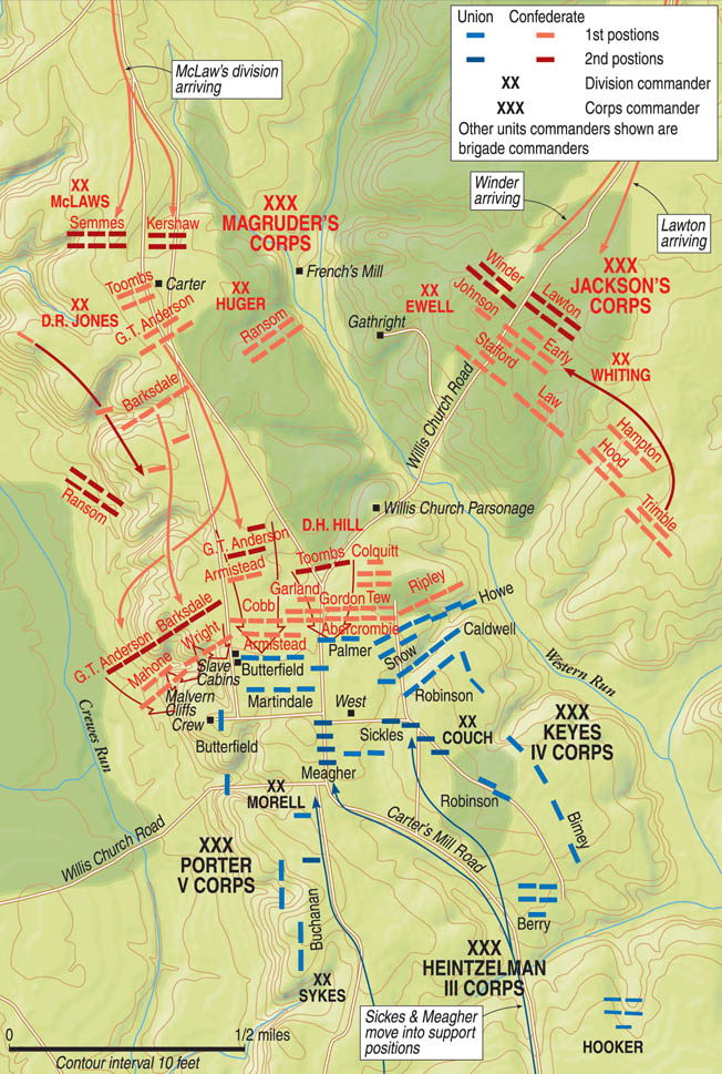 The Federals atop Malvern Hill easily repulsed a series of uncoordinated attacks by the Confederates throughout the afternoon and evening of July 1. Federal morale remained high despite McClellan's unexplained absence at Frayser's farm and Malvern Hill.