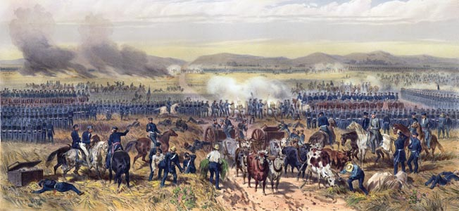 "Led by ""Old Rough and Ready,"" the outnumbered American Army drove Mexican forces back across the Rio Grande and moved on to Palo Alto."