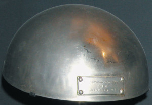 "An example of the early ""soup bowl"" helmet from the Imperial War Museum in London."