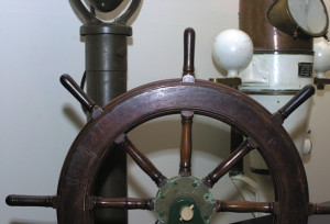 The collection also contains ship's wheels from various cutters.