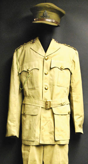 British M37 tropical dress uniform was worn in World War II. This uniform is a captain's in the Royal Artillery.