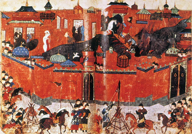 Siege of Baghdad by the Mongols, 1258. Persian manuscript illumination, 14th century.