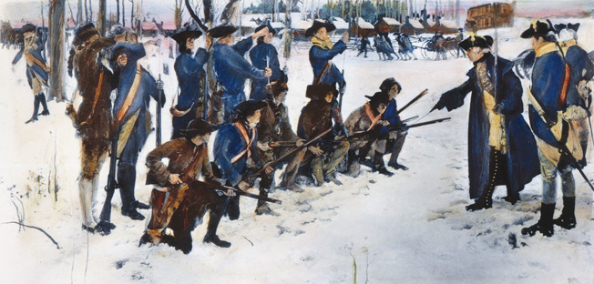 VALLEY FORGE: STEUBEN, 1778. Baron Friedrich von Steuben drilling American troops at Valley Forge, 1778. After a mural painting by Edwin Austin Abbey.