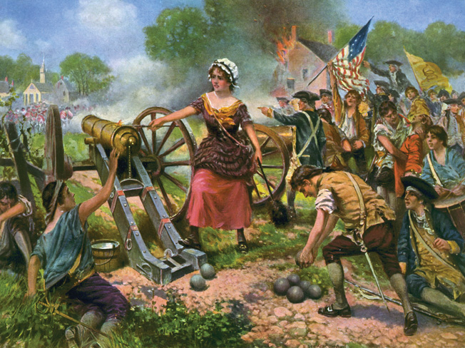 Fanciful painting of Molly Pitcher single-handedly manning a cannon at Monmouth.