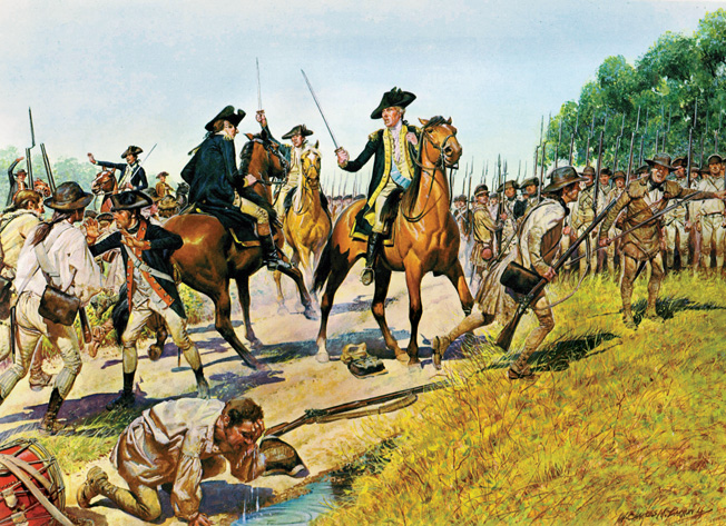 An angry George Washington confronts Charles Lee as staff officers attempt to halt the American retreat. The men's ragtag uniforms in this H. Charles McBarron painting are more accurate than those shown in Lutze's piece.