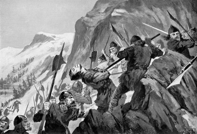 Swiss troops armed with halberds repulse a counterattack by the Austrians at Morgarten. A single-minded disregard for their own lives and those of their foes made the Swiss dreaded opponents.