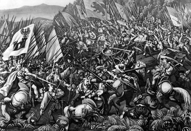 At the Battle of Laupen, the Swiss seized the high ground, which enabled them to launch a devastating downhill charge.