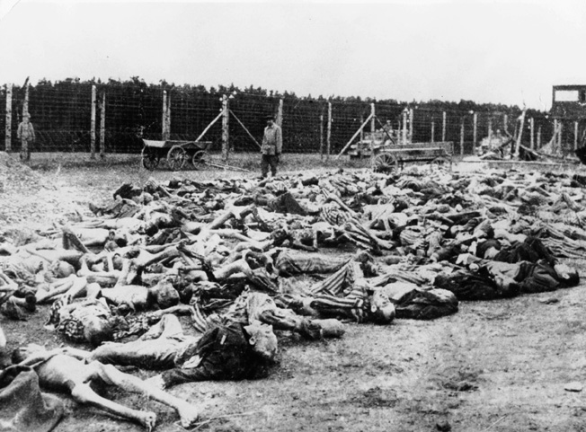CONCENTRATION CAMP, 1945. Corpses of concentration camp inmates as found by troops of the US Army, 04.11.1945.
