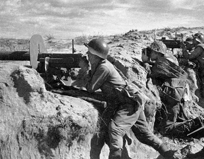 Soviet machine-gun teams were crucial to Zhukov's victory. Soviet armor and infantry eventually broke through the Japanese line and systematically encircled and eliminated enemy forces.