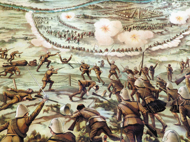 """This contemporary drawing, """"Dashing Advance of the Canadians at Paardeberg,"""" is out of scale and completely inaccurate, but it does capture the excitement of the final British assault. Note the Gordon Highlanders in their kilts."""