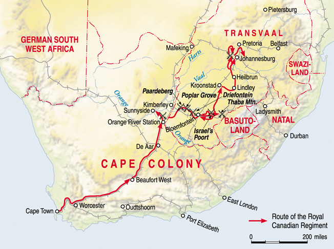 The route taken by the Canadian forces in South Africa in the winter of 1899-1900.