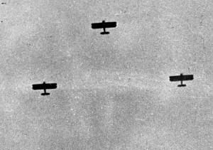 In a photo taken from the window of the New York Times bureau in Shanghai, three Japanese bombers are seen during one of numerous raids on the city.