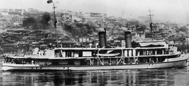 The U.S. Navy gunboat Luzon is shown prior to the attack by Japanese aircraft that sank the vessel in the Yangtze River in December 1937.