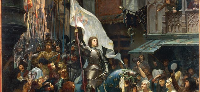 In her battle armor, Joan of Arc leads a rapturous army of French followers who believe her to be divinely inspired.