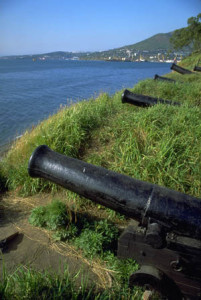 A bristling line of cannons stands as a vivid monument to the Russian defense of Petropavlovsk in 1854.