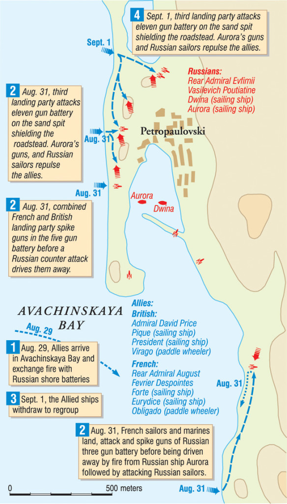 Led by an aggressive Col. Maj. Vasily Zaviko, the Russian garrison at Petrpavlovsk beat back repeated land and sea assaults on the harbor at Avachinskaya Bay.
