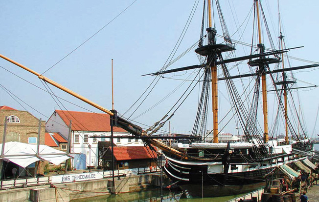 HMS Trincomalee is now on display at Hartlepool in northeast England. For years she served as a training vessel for young English sailors.