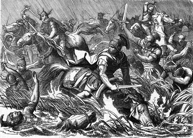 Roman Emperor Decius falls into a quagmire while pursuing Goth tribesmen in AD 251.