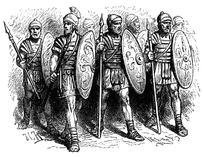 These Roman legionaries are equiped with Pilums, short swords, and shields.