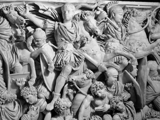 The third-century Great Ludovisi Sarcophagus in Rome shows Romans battling Goths.