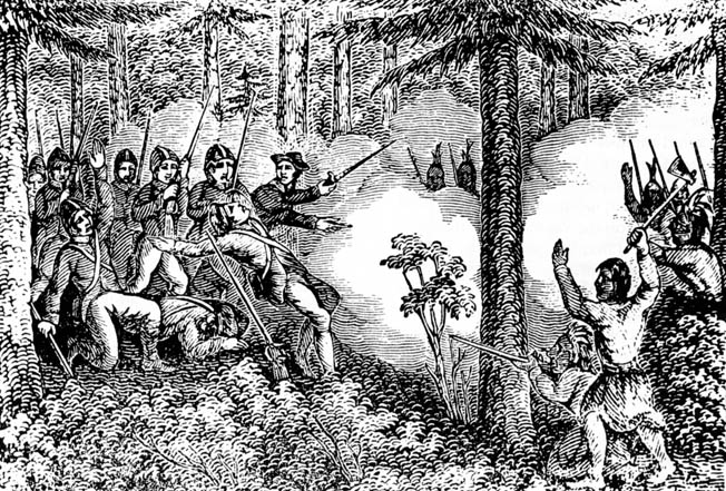 Indians ambush a party of settlers near the Connecticut River. During the course of the bloody conflict, the Indians destroyed a dozen frontier towns.