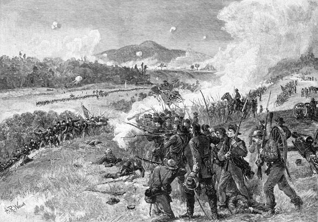 Confederates hold the high ground at Pickett's Mill, forcing Union troops to climb literally toward their muzzles. Rebel artillery supports the merciless fire. It was over in minutes.