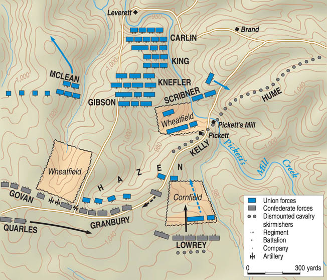 Union forces crossed Little Pumpkin Vine Creek to attack the Confederate works at Pickett's Mill. The landscape was steep and wooded.