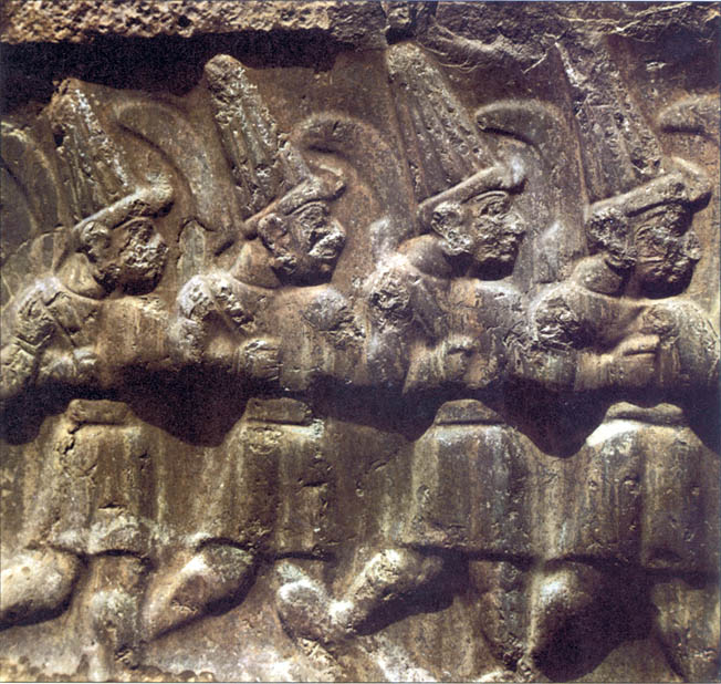 Hittite deities are depicted in an ancient bas relief armed with a sickle-shaped sword known as a khopesh. The ubiquitous weapon was used by both sides at Kadesh.