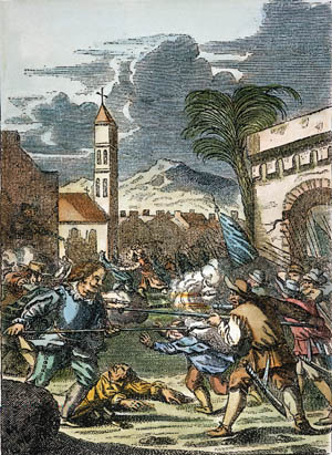 Sir Henry Morgan is shown leading his forces in the 1668 assault on the Spanish colony at Puerto Principe, Cuba. Morgan's pirates prevailed in a four-hour battle with Spanish militia.