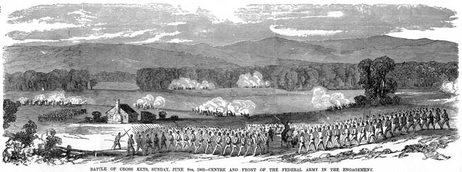 Union troops at Cross Keys advance across the rolling landscape of the Shenandoah Valley. Although the morale of Union troops was high at Cross Keys, they were let down by Fremont, who was outmatched by Ewell.