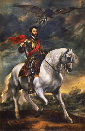 With the symbolic dove of peace hovering above him, Charles V sits astride a white horse in all his imperial splendor.