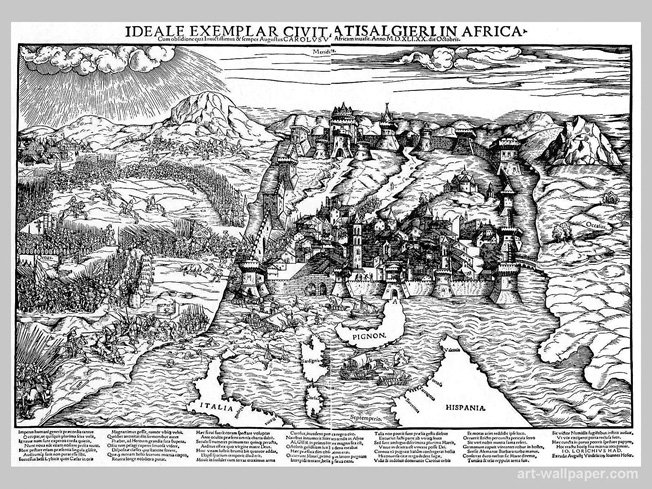 This period engraving depicts the ill-fated siege of Algiers, which literally foundered in bad weather and high seas.