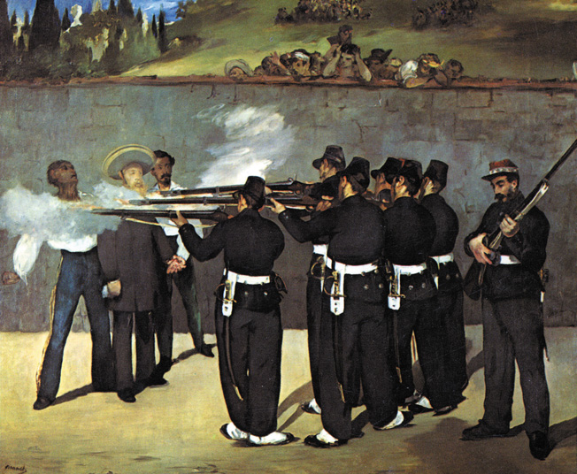 After the withdrawal of French troops from Mexico, Emperor Maximillian is executed by Mexican firing squad in this contemporary painting by French artist Edward Manet.