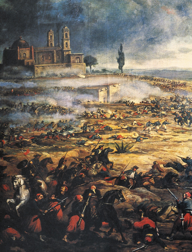 Masses of dead lie strewn about the battlefield at Puebla as Mexican lancers attack red-pantalooned Zouaves.