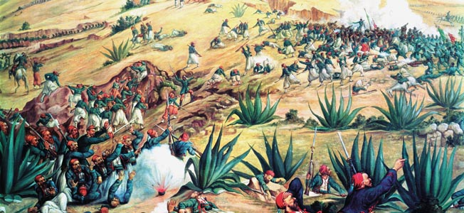XIR164171 #70 The Battle of Puebla, 5 May 1862 (oil) by Mexican School, (19th century) Museo Nacional de Historia, Mexico City, Mexico Mexican, out of copyright