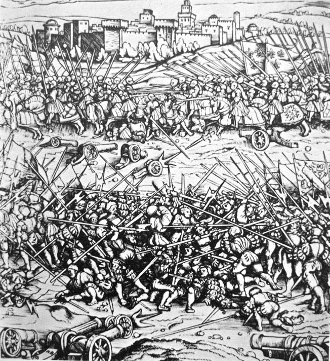 A French army under Gaston de Foix interrupted its siege of Ravenna, Italy, to give battle to Spanish forces on a soggy plain south of the city.
